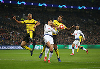 Tottenham Hotspur's Son Heung-Min is challenged by Dan-Axel Zagadou and Abdou Diallo of Borussia Dortmund<br /> <br /> Photographer Rob Newell/CameraSport<br /> <br /> UEFA Champions League Round of 16 First Leg - Tottenham Hotspur v Borussia Dortmund - Wednesday 13th February 2019 - Wembley Stadium - London<br />  <br /> World Copyright © 2018 CameraSport. All rights reserved. 43 Linden Ave. Countesthorpe. Leicester. England. LE8 5PG - Tel: +44 (0) 116 277 4147 - admin@camerasport.com - www.camerasport.com