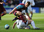 Scott Parker of West Ham rides the tackle of Kevin Nolan of Bolton during the Premier League match at the Reebok Stadium, Bolton. Picture date 12th April 2008. Picture credit should read: Simon Bellis/Sportimage