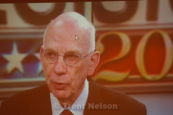 Trent Nelson  |  The Salt Lake Tribune.US Senator Bob Bennett on a television broadcast with a pointer on his head, on election night at the Salt Lake City Marriott Tuesday, November 2, 2010.