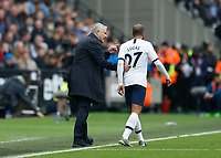 23rd November 2019; London Stadium, London, England; English Premier League Football, West Ham United versus Tottenham Hotspur; Tottenham Hotspur Manager Jose Mourinho giving instructions to Lucas Moura of Tottenham Hotspur from the touchline  - Strictly Editorial Use Only. No use with unauthorized audio, video, data, fixture lists, club/league logos or 'live' services. Online in-match use limited to 120 images, no video emulation. No use in betting, games or single club/league/player publications