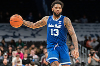 WASHINGTON, DC - FEBRUARY 05: Myles Powell #13 of Seton Hall moves up court during a game between Seton Hall and Georgetown at Capital One Arena on February 05, 2020 in Washington, DC.