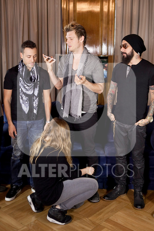 """Howie Dorough, Nick Carter and AJ McLean of the Backstreet Boys attend their new music album """"In A World Like This"""" presentation at Palace Hotel on November 12, 2013 in Madrid, Spain. (ALTERPHOTOS/Victor Blanco)"""