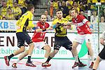 Rhein Neckar Loewe Jannik Kohlbacher (Nr.80)  am Kreis gegen BHCs Max Darj (Nr.5) und BHCs Kristian Nippes (Nr.13), Rhein Neckar Loewe Andy Schmid (Nr.2)  am Ball - beim Bundesliga Spiel der Rhein Neckar L&ouml;wen gegen den BHC am 09.02.2019<br /> <br /> Foto &copy; PIX-Sportfotos *** Foto ist honorarpflichtig! *** Auf Anfrage in hoeherer Qualitaet/Aufloesung. Belegexemplar erbeten. Veroeffentlichung ausschliesslich fuer journalistisch-publizistische Zwecke. For editorial use only.