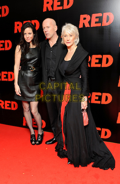 "MARY LOUISE PARKER, BRUCE WILLIS & DAME HELEN MIRREN.The ""Red"" UK film premiere, Royal Festival Hall, Southbank Centre, London, England, UK, 19th October 2010. .full length dress belt waist patterned tights ankle boots open toe black leather sleeveless shirt suit red jacket dress maxi bag silver two tone toe cap ankle boots pointy.CAP/DH.©David Hitchens/Capital Pictures."
