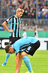 11.08.2019, Carl-Benz-Stadion, Mannheim, GER, DFB Pokal, 1. Runde, SV Waldhof Mannheim vs. Eintracht Frankfurt, <br /> <br /> DFL REGULATIONS PROHIBIT ANY USE OF PHOTOGRAPHS AS IMAGE SEQUENCES AND/OR QUASI-VIDEO.<br /> <br /> im Bild: Frust bei Dorian Diring (SV Waldhof Mannheim #8) und Marco Schuster (SV Waldhof Mannheim #6)<br /> <br /> Foto © nordphoto / Fabisch