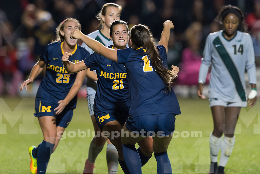 The University of Michigan women's soccer team defeats MSU ,1-0, at the Michigan Soccer Stadium in Ann Arbor, Mich., on Sept. 24, 2016.