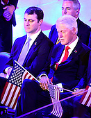 Marc Mezvinsky, and former United States President Bill Clinton listen to the movie introducing Hillary Clinton during the fourth session of the 2016 Democratic National Convention at the Wells Fargo Center in Philadelphia, Pennsylvania on Thursday, July 28, 2016.<br /> Credit: Ron Sachs / CNP<br /> (RESTRICTION: NO New York or New Jersey Newspapers or newspapers within a 75 mile radius of New York City)