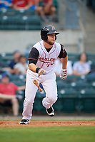 Arkansas Travelers right fielder Kyle Waldrop (10) runs to first base during a game against the Frisco RoughRiders on May 26, 2017 at Dickey-Stephens Park in Little Rock, Arkansas.  Arkansas defeated Frisco 4-2.  (Mike Janes/Four Seam Images)