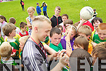Barry John Keane signing autographs at Holy Family School, Tralee on Friday after he refereed the final Holy Family tournament on Friday.