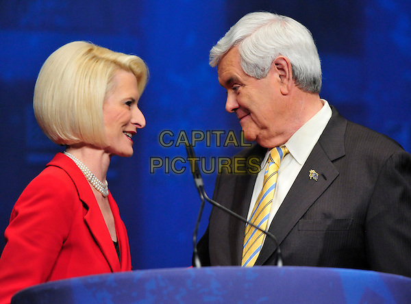 Callista Gingrich, President, Gingrich Productions, introduces her husband, former Speaker of the United States House Newt Gingrich (Republican of Georgia), a candidate for the 2012 Republican Party nomination for President of the United States,  at the 2012 CPAC Conference at the Marriott Wardman Park Hotel in Washington, D.C. on Friday, February 10th 2012. .portrait headshot  red .CAP/ADM/CNP/RS.©Ron Sachs/CNP/AdMedia/Capital Pictures.