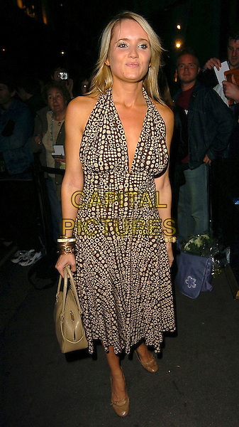 DANIELLE BRENT.Inside Soap Awards 2005.September 26th, 2005.full length brown pattern print halterneck dress bag purse.www.capitalpictures.com.sales@capitalpictures.com.©Capital Pictures