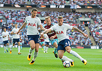 Tottenham's Toby Alderweireld ; Tottenham's Jan Vertonghen  and and Burnley Scott Arfield during the Premier League match between Tottenham Hotspur and Burnley at White Hart Lane, London, England on 27 August 2017. Photo by Andrew Aleksiejczuk / PRiME Media Images.