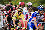Thibaut Pinot (FRA) Groupama-FDJ, Yellow Jersey Julian Alaphilippe (FRA) Deceuninck-Quick Step and Geraint Thomas (WAL) Team Ineos lead the chase up La Planche des Belles Filles during Stage 6 of the 2019 Tour de France running 160.5km from Mulhouse to La Planche des Belles Filles, France. 11th July 2019.<br /> Picture: ASO/Pauline Ballet   Cyclefile<br /> All photos usage must carry mandatory copyright credit (© Cyclefile   ASO/Pauline Ballet)