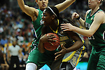 03 APR 2012: Destiny Williams (10) of Baylor University is surrounded by Notre Dame players during the Division I Women's Basketball Championship held at the Pepsi Center in Denver, CO. Stephen Nowland/NCAA Photos