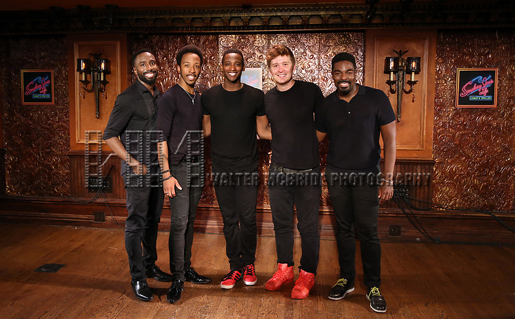 John Edwards, Dwayne Cooper,Jelani Remy, Max Sangerman and Kyle Taylor Parker attends the photo call for the new production of 'Smokey Joe's Cafe' at Feinstein's/54 Below on June 27, 2018 in New York City.