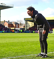 Lincoln City manager Danny Cowley shouts instructions to his team from the technical area<br /> <br /> Photographer Andrew Vaughan/CameraSport<br /> <br /> The EFL Sky Bet League Two - Lincoln City v Cheltenham Town - Saturday 13th April 2019 - Sincil Bank - Lincoln<br /> <br /> World Copyright &copy; 2019 CameraSport. All rights reserved. 43 Linden Ave. Countesthorpe. Leicester. England. LE8 5PG - Tel: +44 (0) 116 277 4147 - admin@camerasport.com - www.camerasport.com