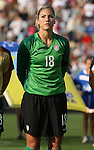 14 July 2007: United States' Hope Solo. The United States Women's National Team defeated their counterparts from Norway 1-0 at Rentschler Stadium in East Hartford, Connecticut in a women's international friendly soccer game.