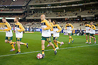 MELBOURNE, AUSTRALIA - MAY 24, 2010: Mark Bresciano of the Qantas Socceroos runs onto the field at the FIFA World Cup farewell match against New Zealand at the Melbourne Cricket Ground, 24 May, 2010 in Melbourne, Australia. Photo by Sydney Low / www.syd-low.com