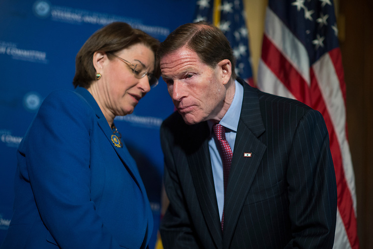 UNITED STATES - MARCH 15: Sens. Richard Blumenthal, D-Conn., and Amy Klobuchar, D-Minn., attend a news conference in the Capitol on transparency in government, March 15, 2017. (Photo By Tom Williams/CQ Roll Call)
