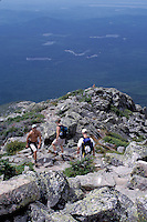Maine, Mt. Katahdin, Appalachian Trail, Baxter Park, ME, People hiking the rugged Hunt Trail part of the Appalachian Trail on Mt. Katahdin in Baxter State Park.