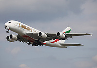An Emirates Airbus A380-842 Registration A6-EUM departing London Heathrow Airport on runway 27R on 2.8.19 going to Dubai International Airport, United Arab Emirates.