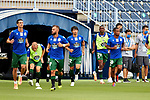 Players of Deportivo de la Coruna warms up before La Liga Smartbank match round 39 between Malaga CF and RC Deportivo de la Coruna at La Rosaleda Stadium in Malaga, Spain, as the season resumed following a three-month absence due to the novel coronavirus COVID-19 pandemic. Jul 03, 2020. (ALTERPHOTOS/Manu R.B.)