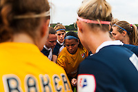 Sky Blue FC players huddle prior to the start of the match. Sky Blue FC and FC Kansas City played to a 2-2 tie during a National Women's Soccer League (NWSL) match at Yurcak Field in Piscataway, NJ, on June 26, 2013.