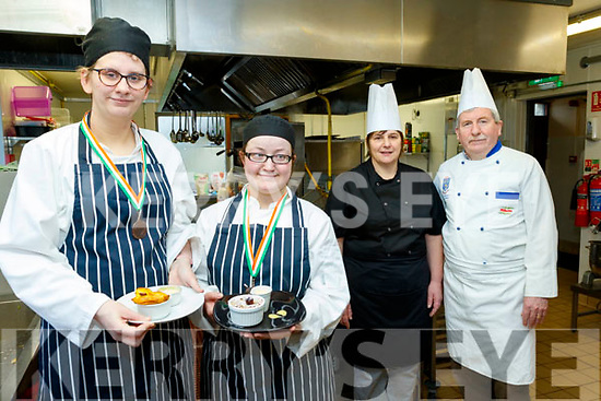 Pictured last Tuesday Feb 11, at the National Learning Centre, Clash, Tralee are L-R Erin Quirke and Ann Marie Fealey  who both won Bronze medals in the Food&Bev, Chef Ireland National Competitions , Hot Dessert open class, held in Dublin last Tuesday Feb 4, also pictured are Frances Griffin&Tom Hardiman, catering instructors.
