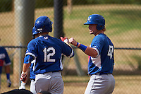 Los Angeles Dodgers Logan Landon (12) fist bumps Matt Jones (47)  after hitting a home run during an instructional league game against the Cincinnati Reds on October 20, 2015 at Cameblack Ranch in Glendale, Arizona.  (Mike Janes/Four Seam Images)