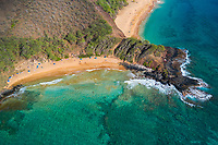 A clear day at Makena Beach, Maui, seen from above.