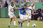 Sep 27 2007:  Peter Vagenas (left) tries to pull Carlos Marinelli (10) of the Wizards off the ball, as Galaxy teammate Cobi Jones (13) helps to cover the play.  The MLS Kansas City Wizards were defeated by the visiting Los Angeles Galaxy 1-0 at Arrowhead Stadium in Kansas City, Missouri, in a regular season league soccer match.