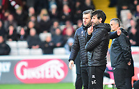 Lincoln City manager Danny Cowley, right, and Nicky Cowley in their technical area<br /> <br /> Photographer Andrew Vaughan/CameraSport<br /> <br /> Emirates FA Cup First Round - Lincoln City v Northampton Town - Saturday 10th November 2018 - Sincil Bank - Lincoln<br />  <br /> World Copyright &copy; 2018 CameraSport. All rights reserved. 43 Linden Ave. Countesthorpe. Leicester. England. LE8 5PG - Tel: +44 (0) 116 277 4147 - admin@camerasport.com - www.camerasport.com