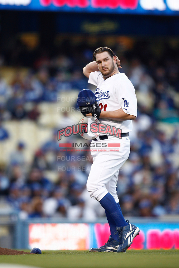 Brad Penny of the Los Angeles Dodgers during a 2007 MLB season game at Dodger Stadium in Los Angeles, California. (Larry Goren/Four Seam Images)