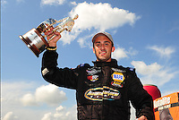 Apr. 29, 2012; Baytown, TX, USA: NHRA pro stock driver Vincent Nobile celebrates after winning the Spring Nationals at Royal Purple Raceway. Mandatory Credit: Mark J. Rebilas-
