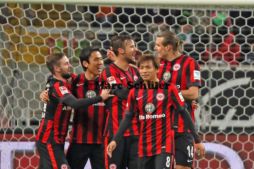 Torjubel Eintracht Frankfurt beim 1:0 um Alex Meier - Eintracht Frankfurt vs. SV Werder Bremen, Commerzbank Arena