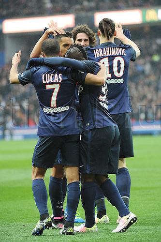 02.04.2016. Paris, France. French League 1 football. Paris St Germain versus Nice.  ZLATAN IBRAHIMOVIC (psg) celebrates his goal with ADRIEN RABIOT (psg)