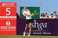 Nelly Korda (USA) on the 5th tee during Round 4 of the Ricoh Women's British Open at Royal Lytham &amp; St. Annes on Sunday 5th August 2018.<br /> Picture:  Thos Caffrey / Golffile<br /> <br /> All photo usage must carry mandatory copyright credit (&copy; Golffile | Thos Caffrey)