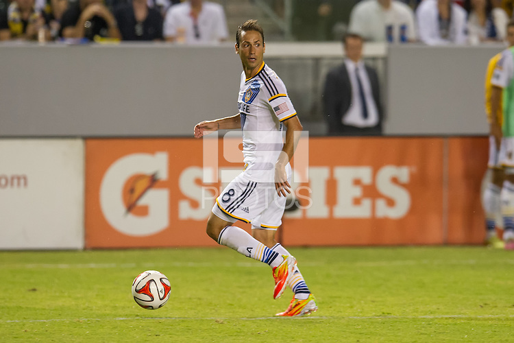 CARSON, CA - August 8, 2014: LA Galaxy vs San Jose Earthquakes match at the StubHub Center in Carson, California. Final score, LA Galaxy 2, San Jose Earthquakes 2.