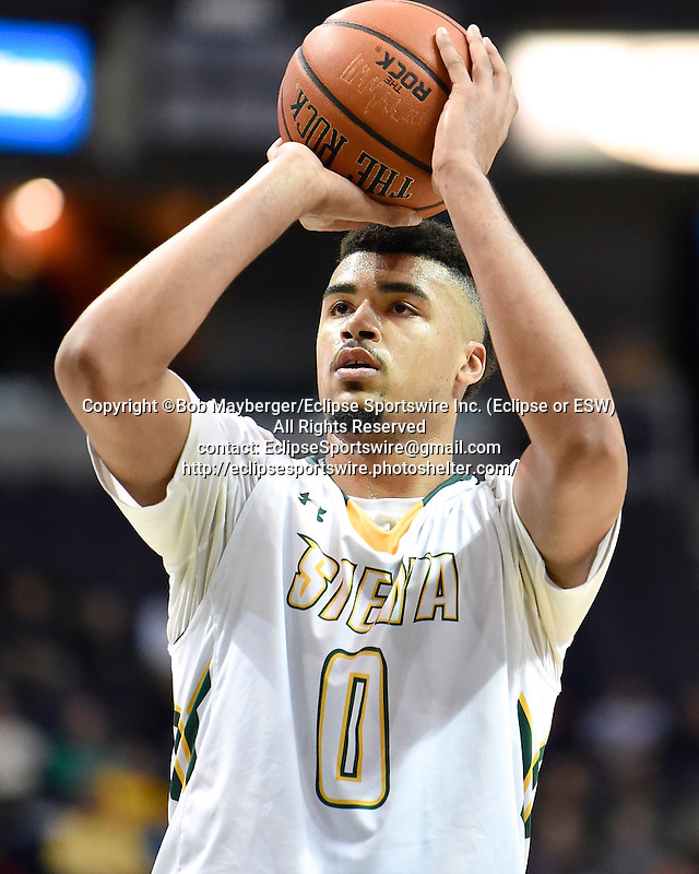 Siena defeats Fairfield 91-76 in a game on January 07, 2016 at the Times Union Center in Albany, New York.  (Bob Mayberger/Eclipse Sportswire)