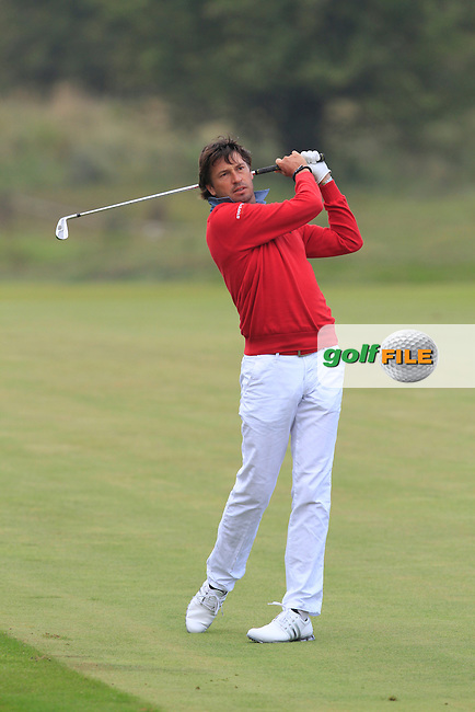 Robert-Jan Derksen (NED) on the 2nd during Round 4 of the KLM Open at Kennemer Golf &amp; Country Club on Sunday 14th September 2014.<br /> Picture:  Thos Caffrey / www.golffile.ie