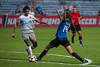 Kansas City, MO - Thursday August 10, 2017: Taylor Smith, Sydney Leroux during a regular season National Women's Soccer League (NWSL) match between FC Kansas City and the North Carolina Courage at Children's Mercy Victory Field.