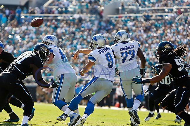November 04, 2012:  Detroit Lions quarterback Matthew Stafford (9) throws from near his goal line in a NFL game between the Detroit Lines and the Jacksonville Jaguars  played at EverBank Field in Jacksonville, Florida.   ........
