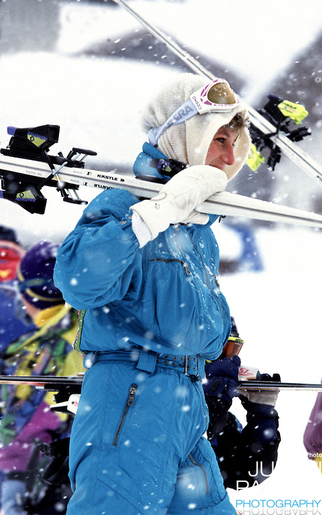 The Princess of Wales sking in Lech, Austria, on an annual ski holiday with her sons, Prince William, and Prince Harry