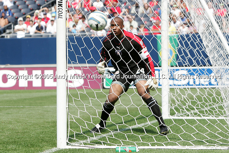16 July 2005: Zach Thornton watches a Columbus shot go just wide of the goal. The Chicago Fire and Columbus Crew tied 1-1 at Soldier Field in Chicago, Illinois in a regular season Major League Soccer game.