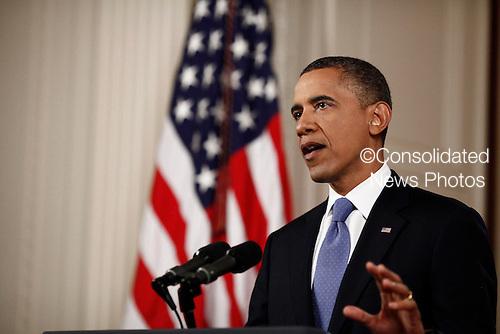 United States President Barack Obama speaks in the East Room of the White House in Washington, Thursday, June 28, 2012, following the U.S. Supreme Court decision on his health care legislation. .Credit: Luke Sharrett / Pool via CNP