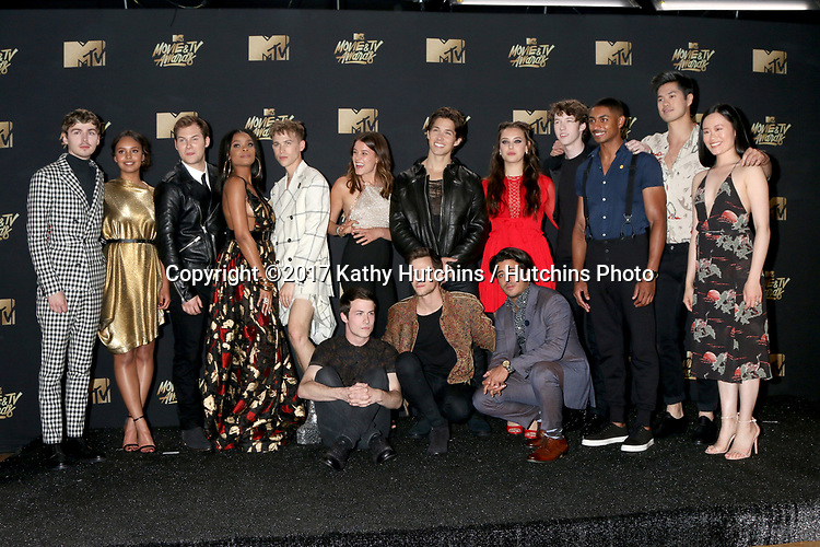 LOS ANGELES - MAY 7:  Cast of '13 Reasons Why' at the MTV Movie and Television Awards on the Shrine Auditorium on May 7, 2017 in Los Angeles, CA