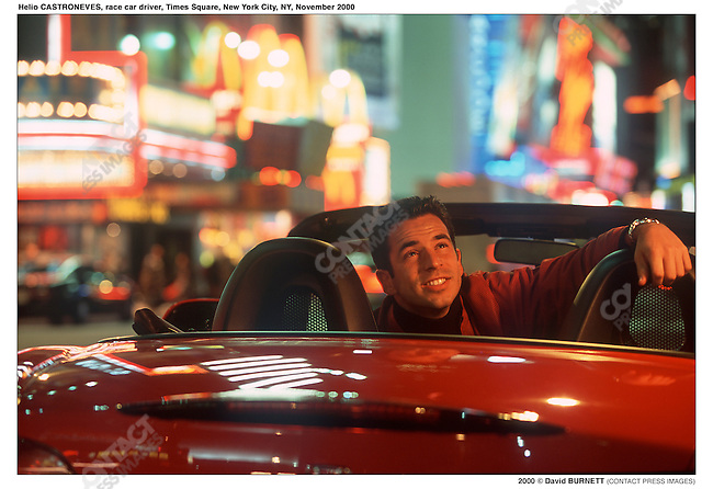 Helio CASTRONEVES, race car driver, Times Square, New York City, NY, November 2000