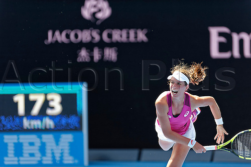 28.01.2016. Melbourne, Australia. Johnana Konta (GBR) in action against Angelique Gerber (GER) during their women's singles match at the Australian Open Tennis Championship at Melbourne Park, Australia. Gerber beat Konta 7:5, 6:2