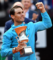 Rafael Nadal of Spain poses with the trophy at the end of the final match played against Novak Djokovic of Serbia. Rafael Nadal won 6-0, 4-6, 6-1 <br /> Roma 19/05/2019 Foro Italico  <br /> Internazionali BNL D'Italia Italian Open <br /> Photo Andrea Staccioli / Insidefoto