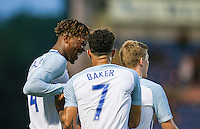 Lewis Baker (Vitesse Arnhem, loan from Chelsea) of England is congratulated on his goal by Nathaniel Chalobah (Chelsea) of England during the International EURO U21 QUALIFYING - GROUP 9 match between England U21 and Norway U21 at the Weston Homes Community Stadium, Colchester, England on 6 September 2016. Photo by Andy Rowland / PRiME Media Images.